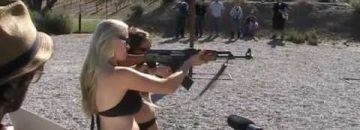 "Nothing Says ""America"" More Than The Girls Of Hogue Inc. Firing Machine Guns"